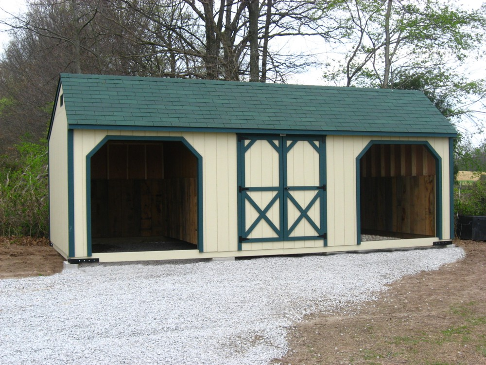 12x24 Horse Barn w Center Storage