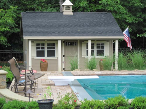 Lancaster Pool house 14x20 with 4' porch 4 windows 2 pr shutters cupola single transom door and dbl on side